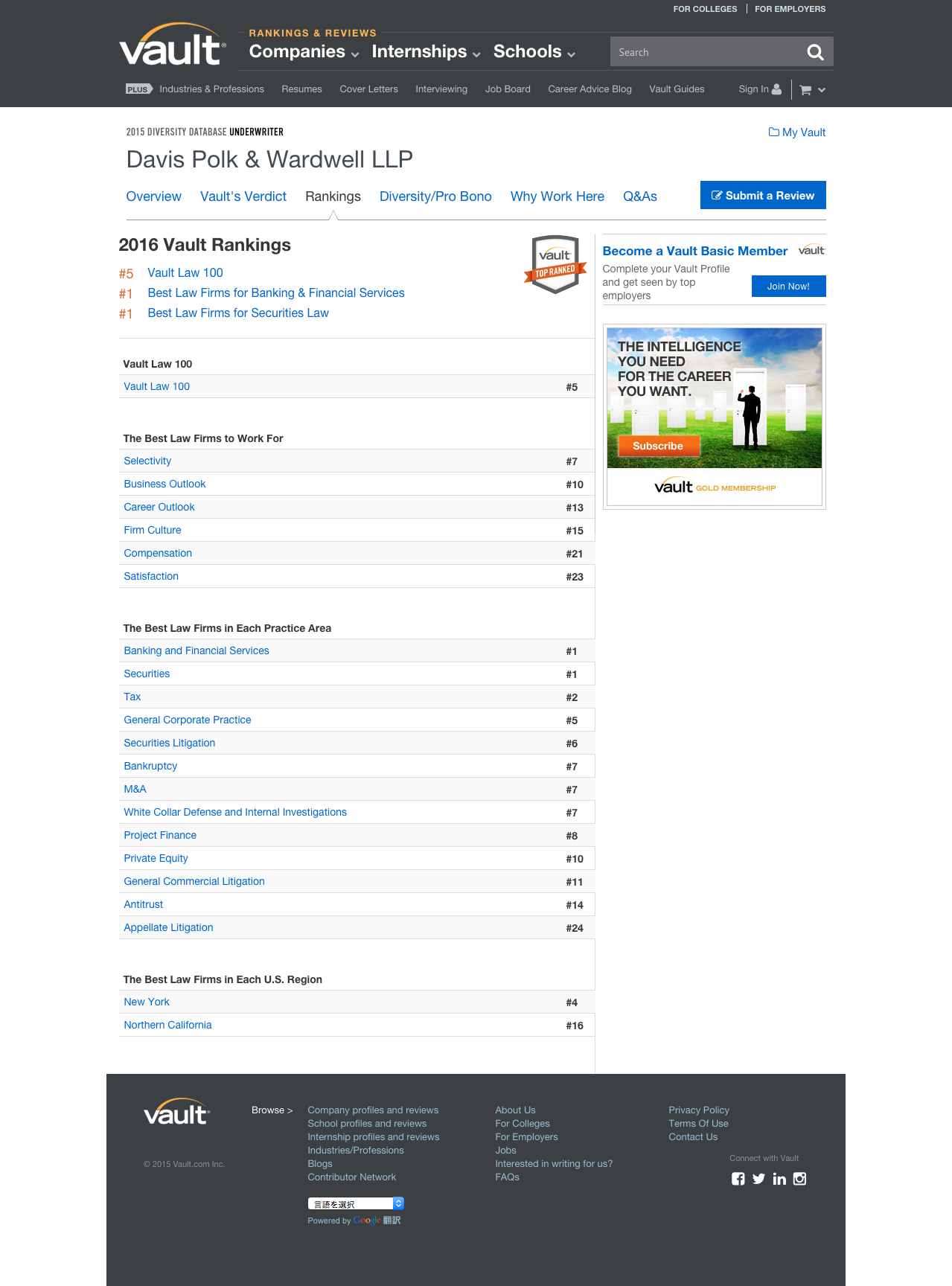 Davis Polk Vault 2016 Ranking